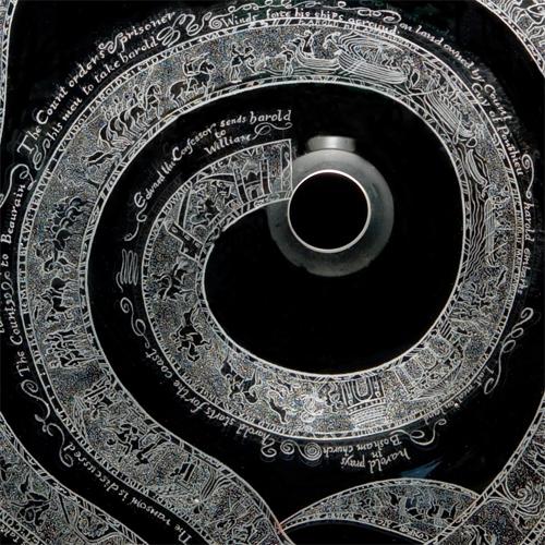 Bayeux tapestry bowl: detail: Harold is taken prisoner