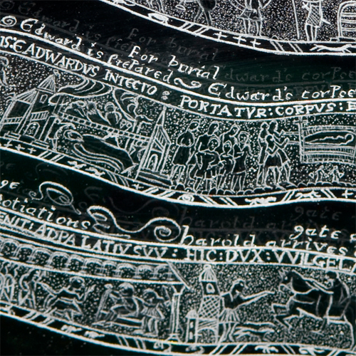 Bayeux tapestry bowl: detail: Edward is prepared for burial