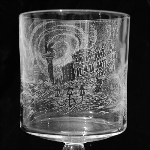Venice:  glass engraving, stipple effect, on goblet: detail